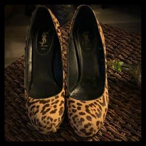 YSL leopard print shoes
